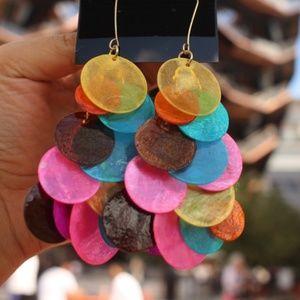 NEW Handmade Shell Dangling Multi color earrings
